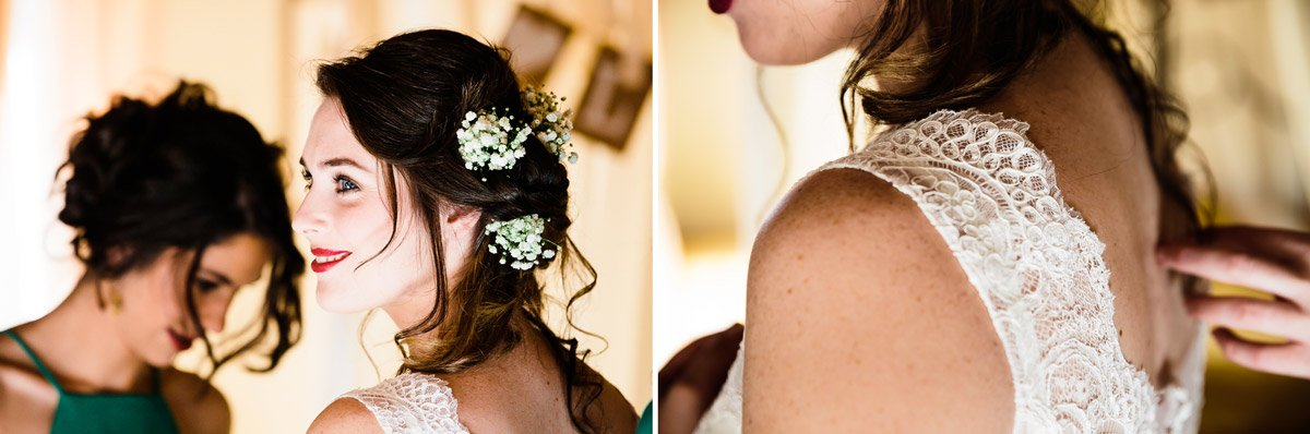 bride getting ready helped by her bridesmaids before the wedding ceremony in Tuscany