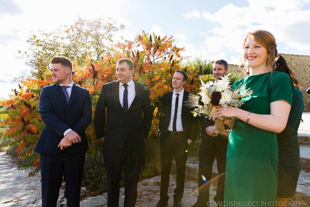 End of an outdoor wedding ceremony at Casa Cornacchi, Bucine