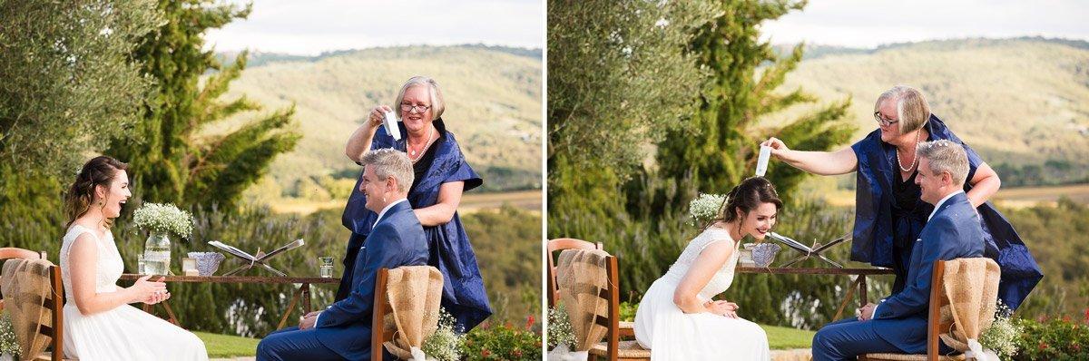 Outdoor wedding ceremony at Casa Cornacchi, Bucine