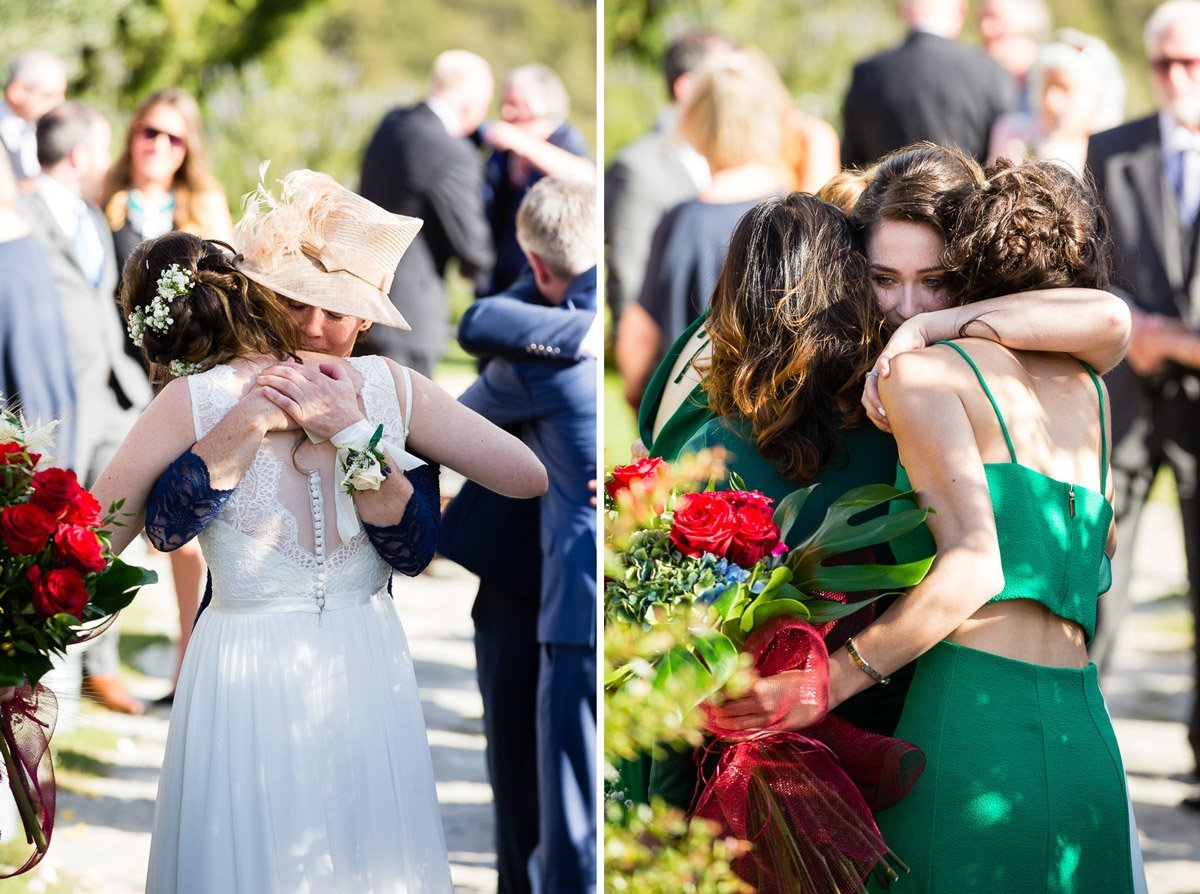 bride hugging friends and relatives after the wedding ceremony