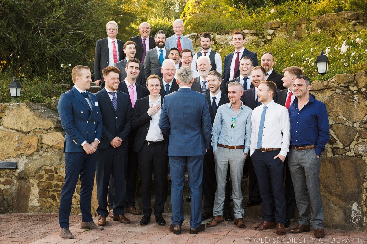 funny posing group photo during a wedding party
