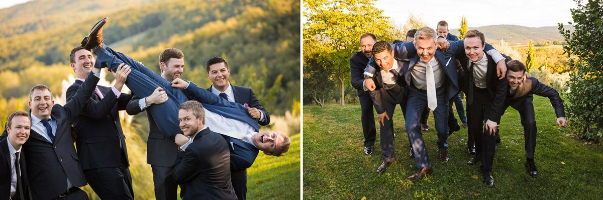 groom and ushers posing as a rugby scrum