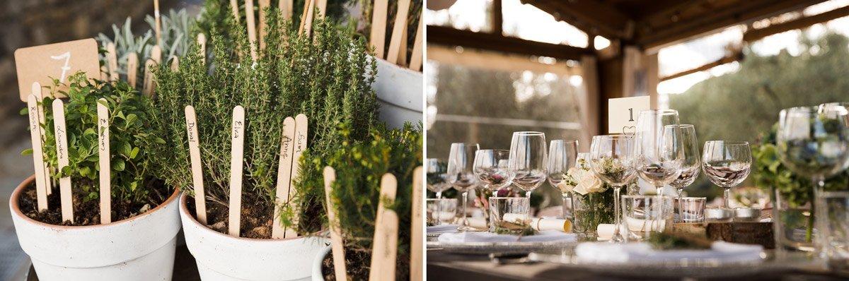 table decoration for wedding dinner at Casa Cornacchi, Tuscany
