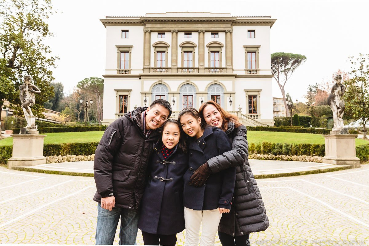 Family portrait in front of Villa Cora, Florence