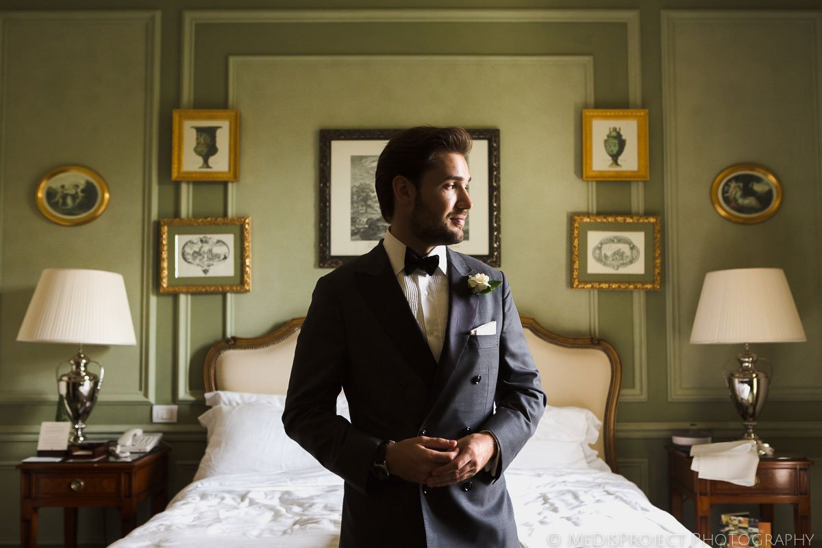 Groom getting ready at the Four Seasons Hotel in Florence