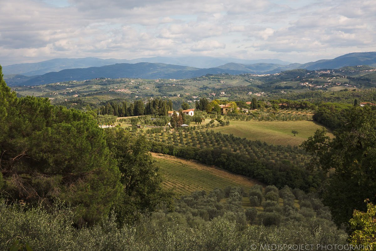 Tuscan countryside view from Villa Tavernaccia