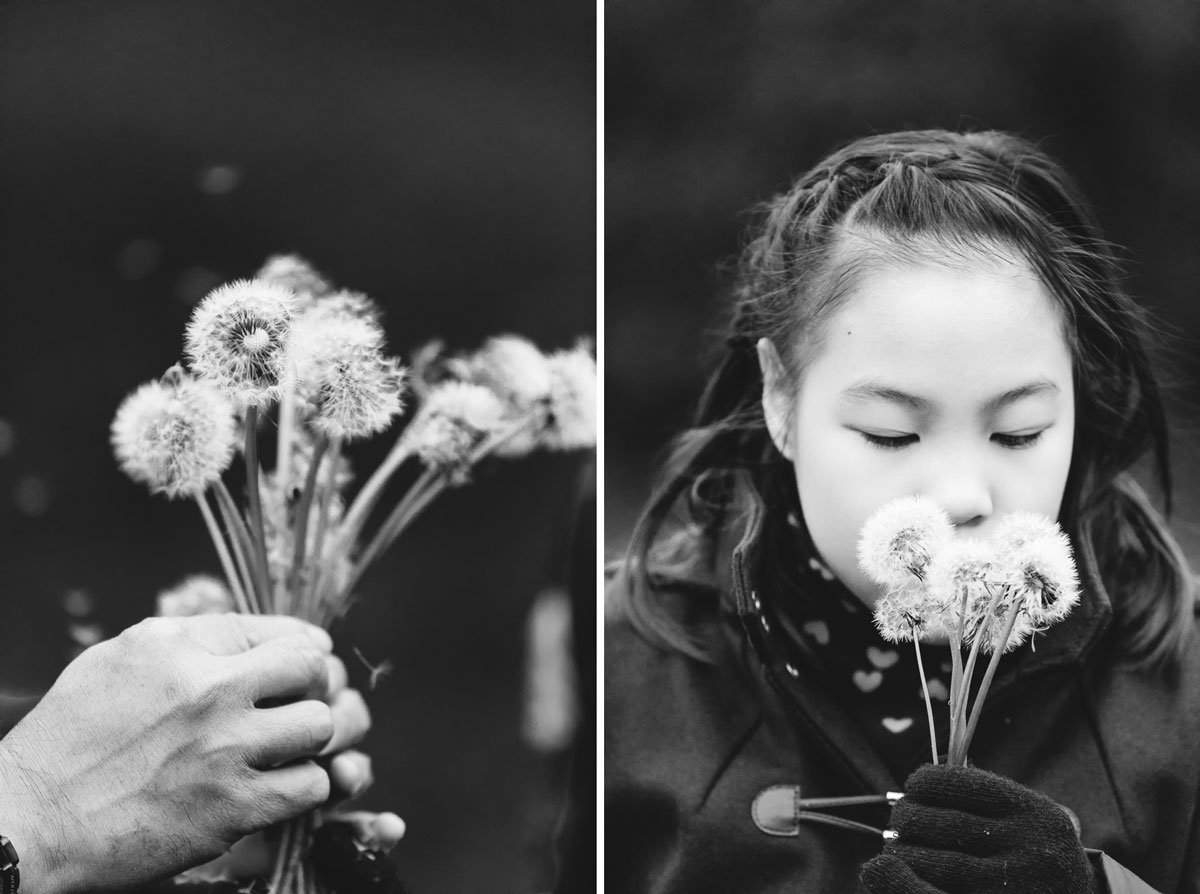 oriental girl playing with dandelion clocks