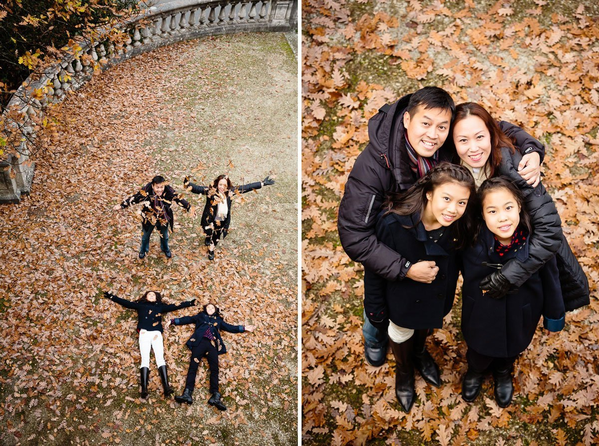 Autumn family photo session with dead leaves in Italy