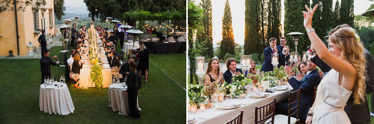 stylish wedding dinner outdoor in Tuscany