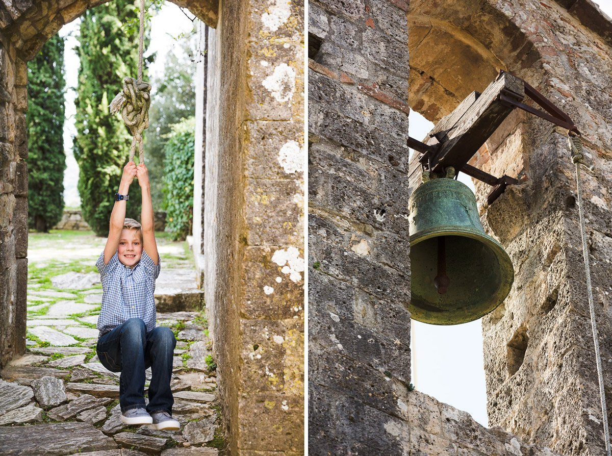 kid pulling the rope to ring the bell of Il Campanile by Inspirato