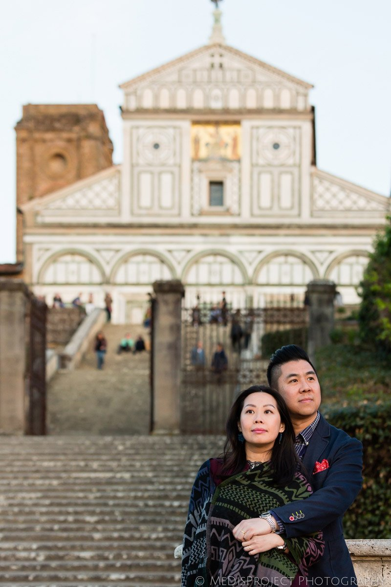 golden hour romantic photo session at San Miniato Church in Florence, Tuscany