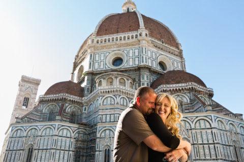 couple photos next to the Florence Duomo