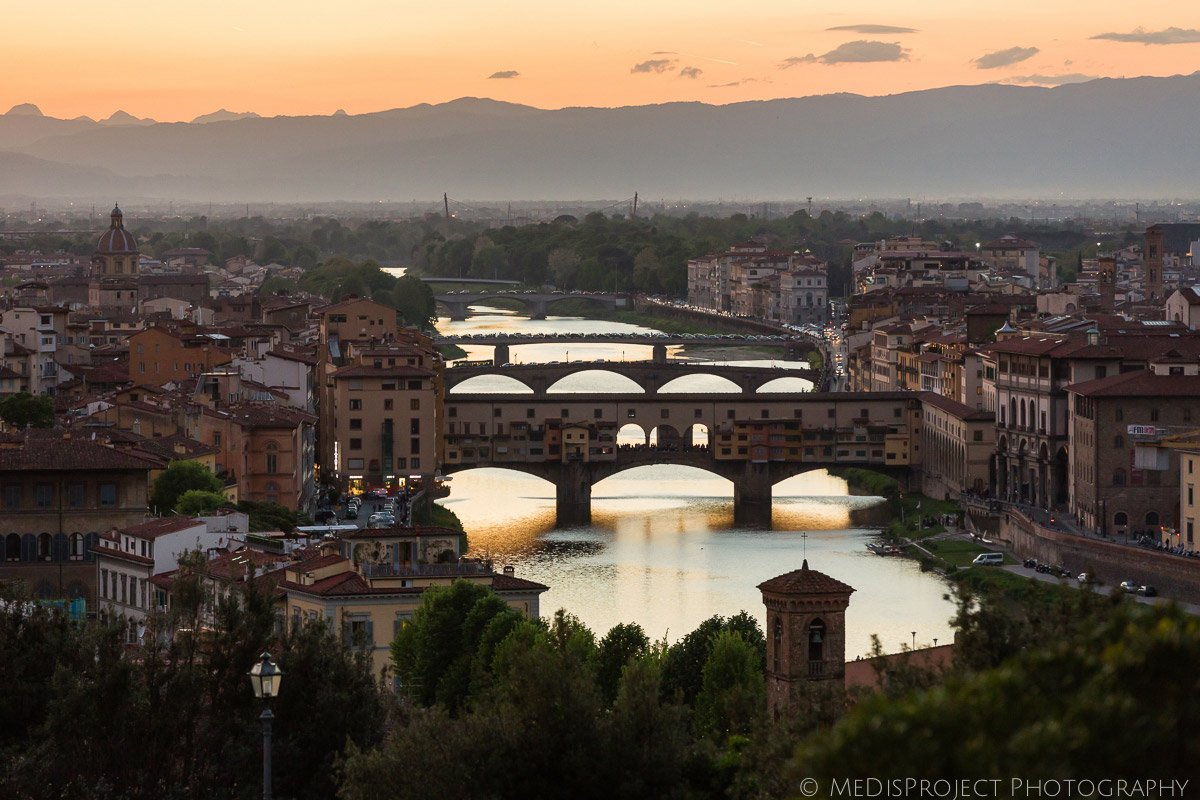 view of the Florence bridges from Piazzale Michelangelo