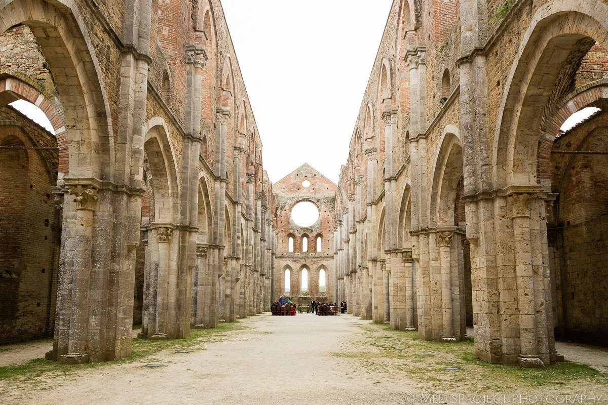 San Galgano roofless church in Chiusdino, Tuscany