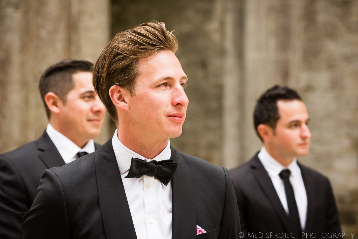 the groom's reaction during his first look in San Galgano roofless church
