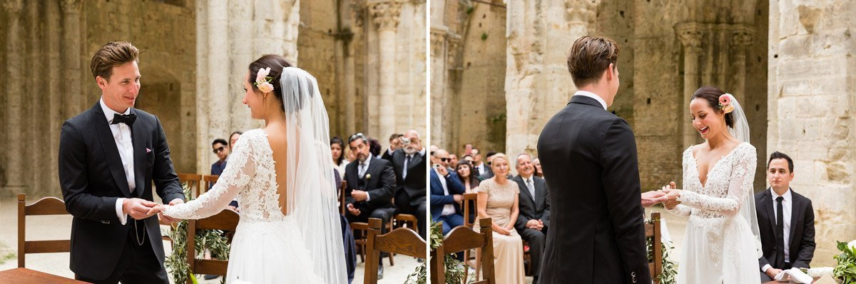 romantic wedding in San Galgano roofless church