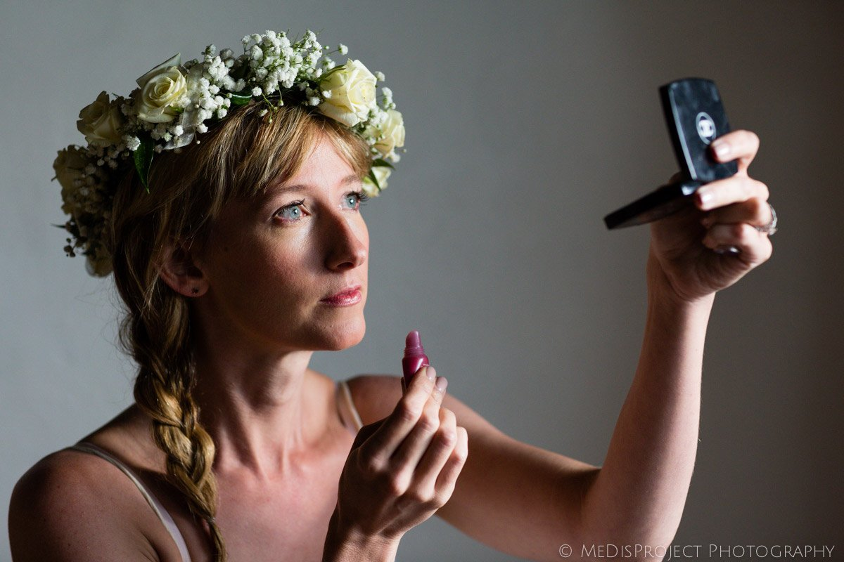 bride getting ready for a country Tuscan wedding