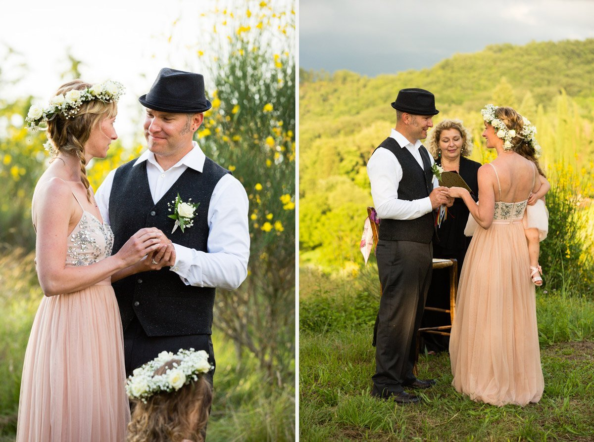 exchanging the rings during an elopement wedding ceremony