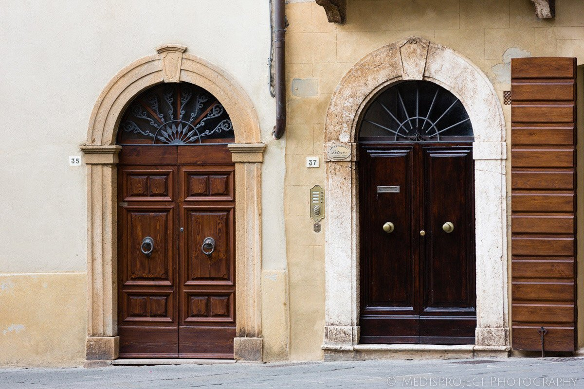 Old Italian doors in Pienza