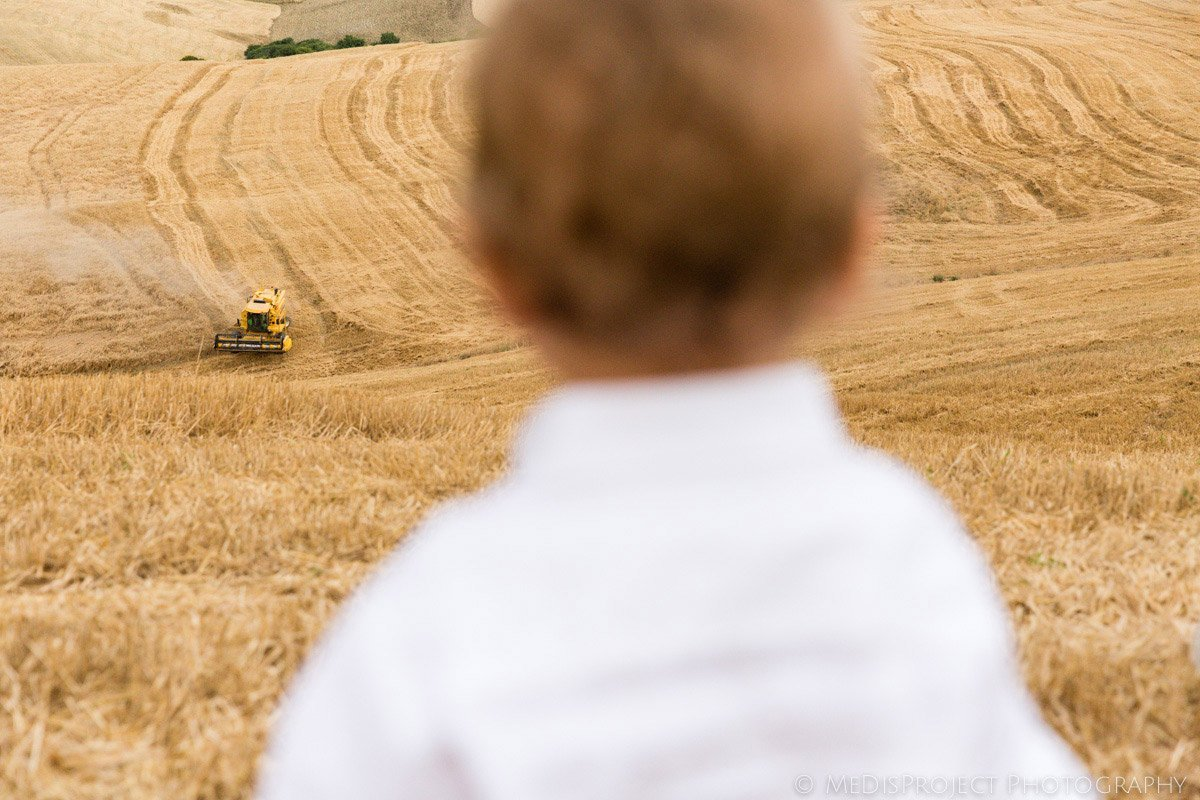 little boy looking at a tractor harvesting in Italy