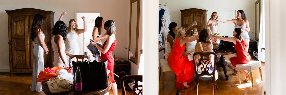 bridal party during getting ready