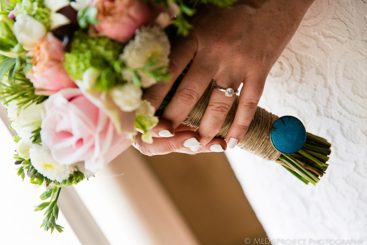 something old, new, borrowed and blue on the bouquet