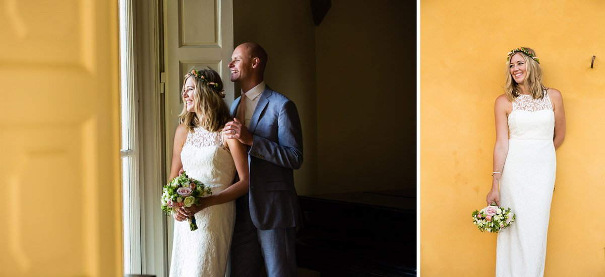 Bride and groom portraits, bride leaning on a yellow wall