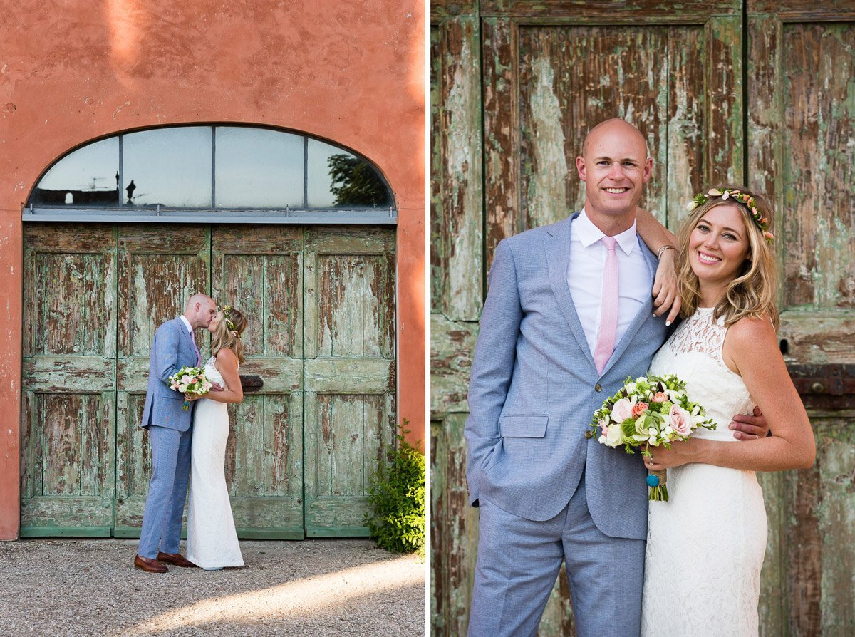 bride and groom posing in front of an old Tuscan wooden door