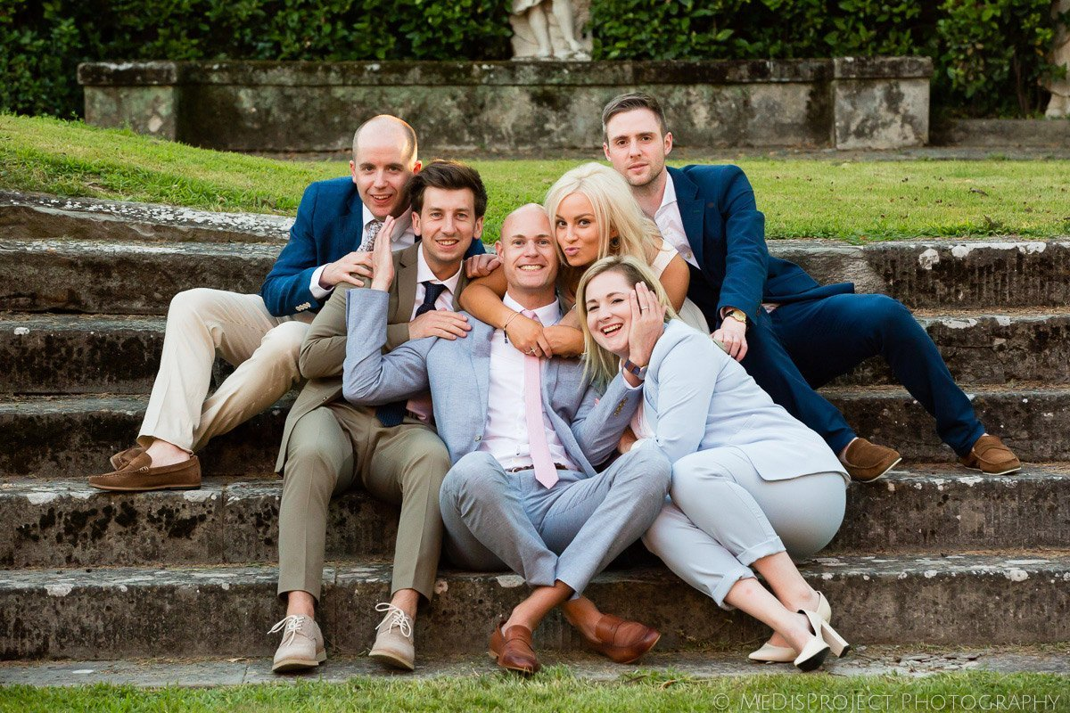 group photo at a wedding reception in Florence