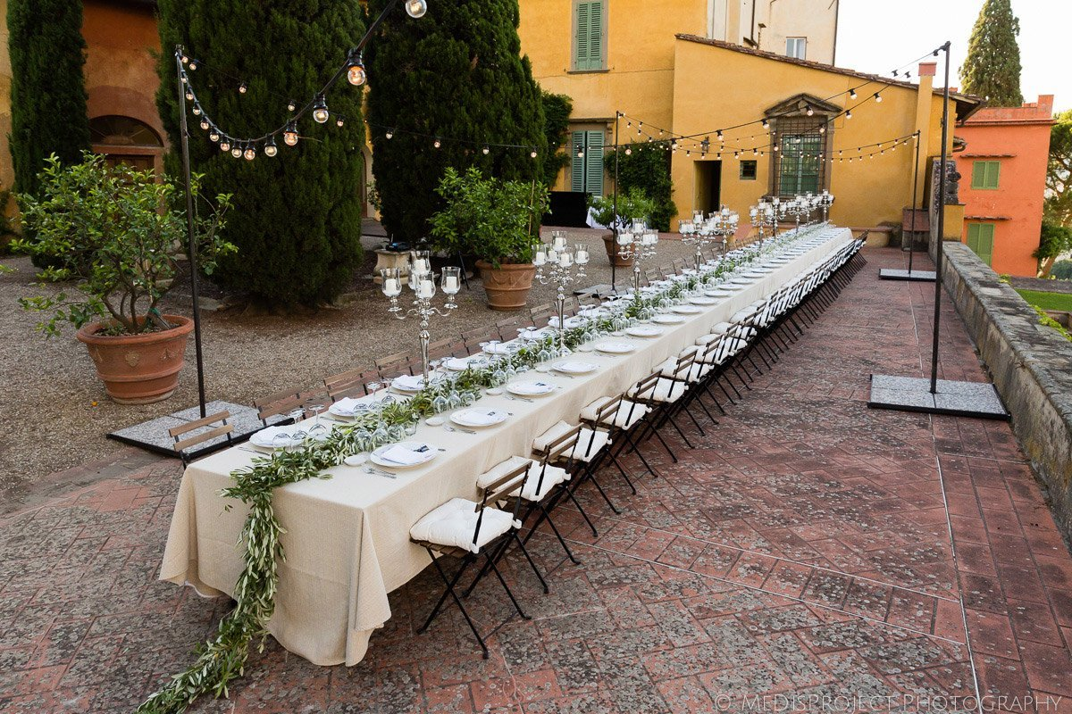 Wedding dinner at Villa Poggio San Felice in Italy