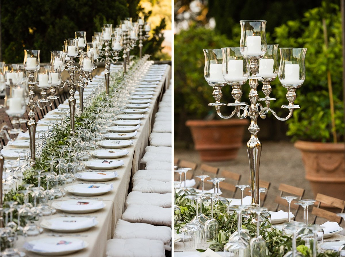 Details of a wedding dinner table at Villa Poggio San Felice in Italy