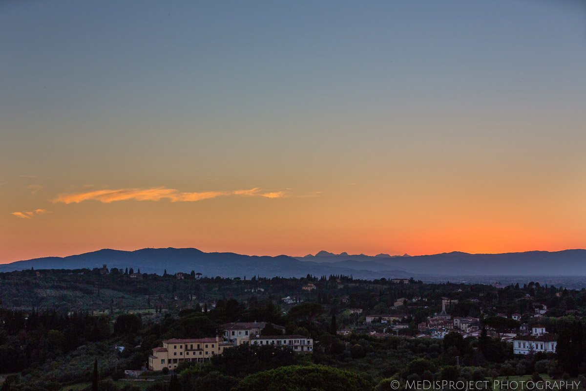 sunset picture from the hills around Florence