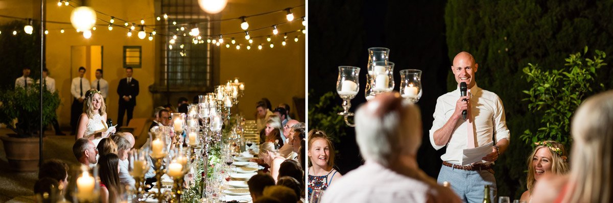 wedding dinner with fairy bulb lights over the long table