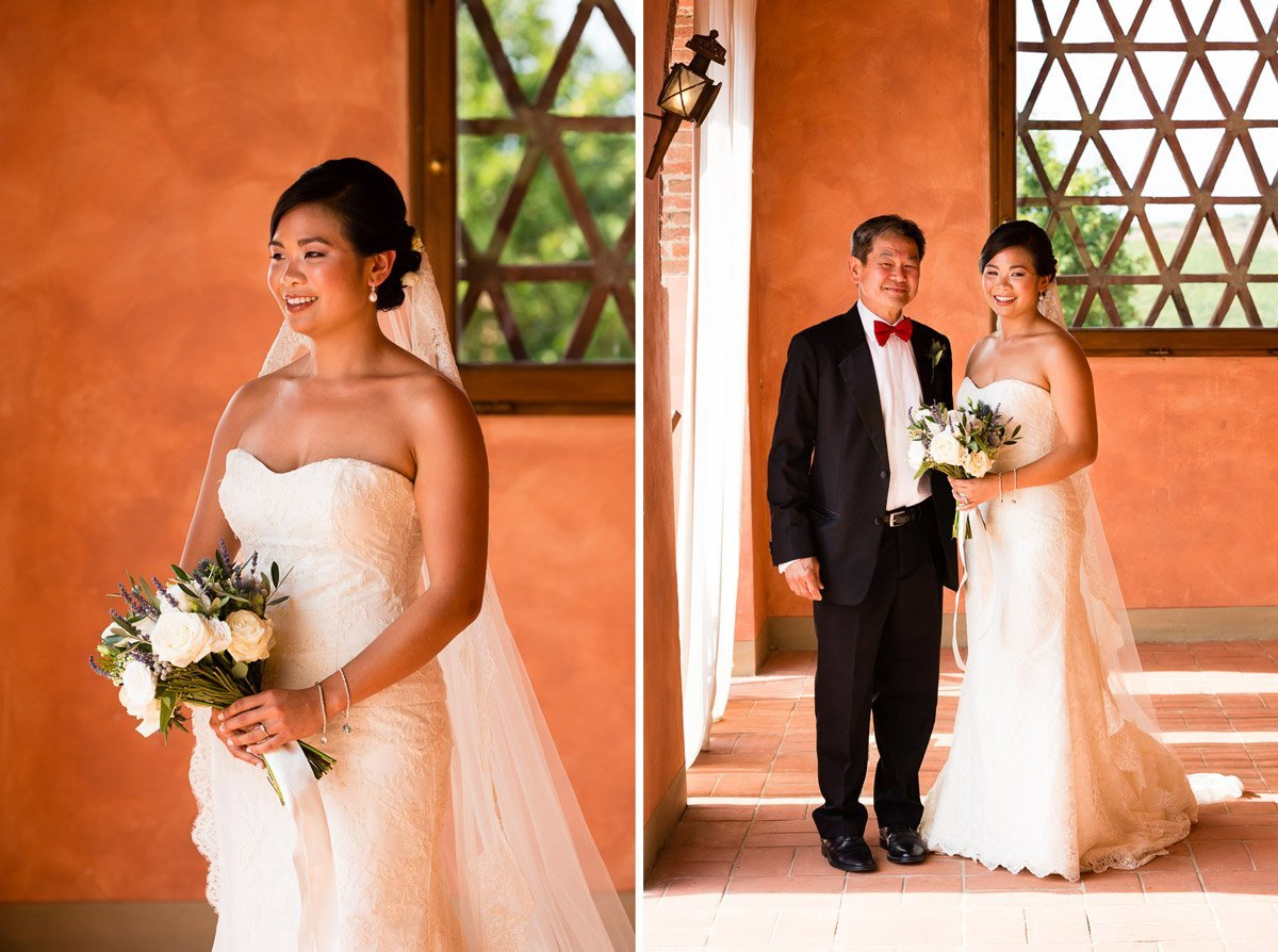asian bride with her father before the wedding ceremony