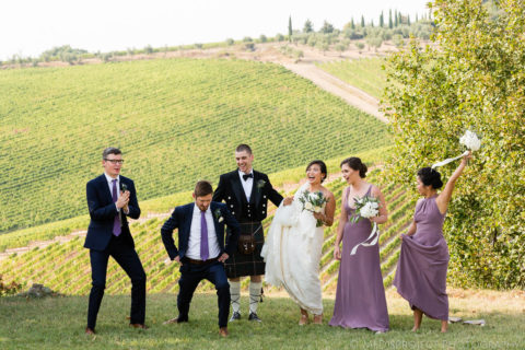 funny group photo in the Tuscan country