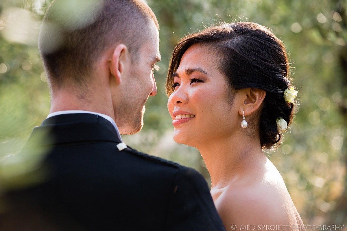 closeup of an asian wife with a warm evening light