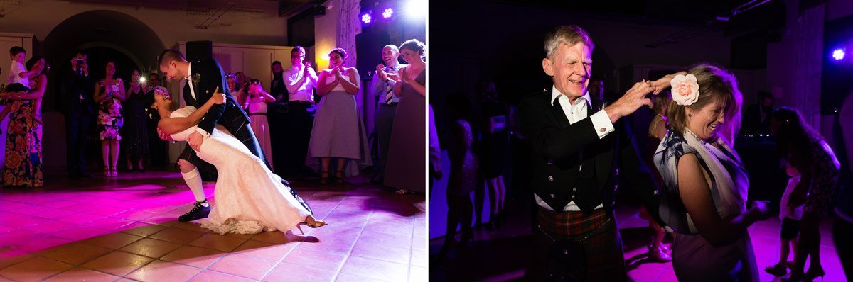 bride and groom's first dance at Fonte dei Medici