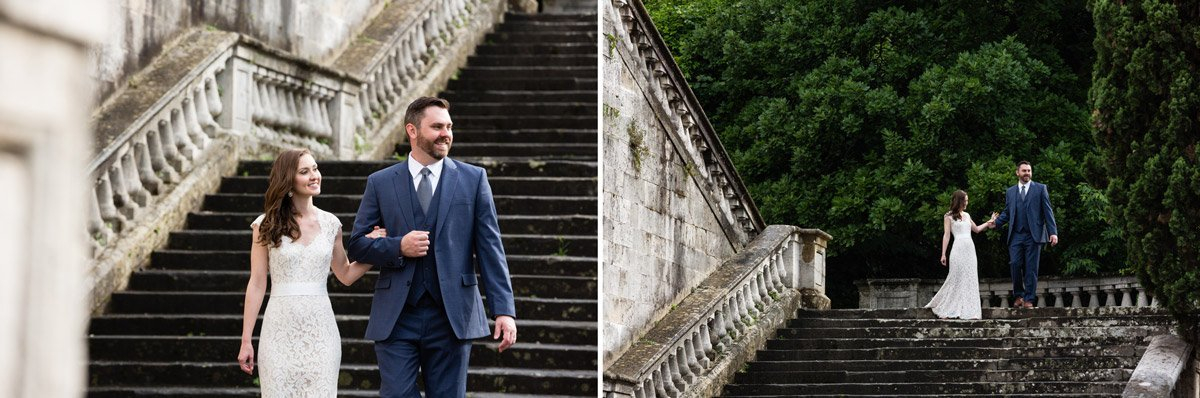 bride and groom walking down monumental stairway in Florence