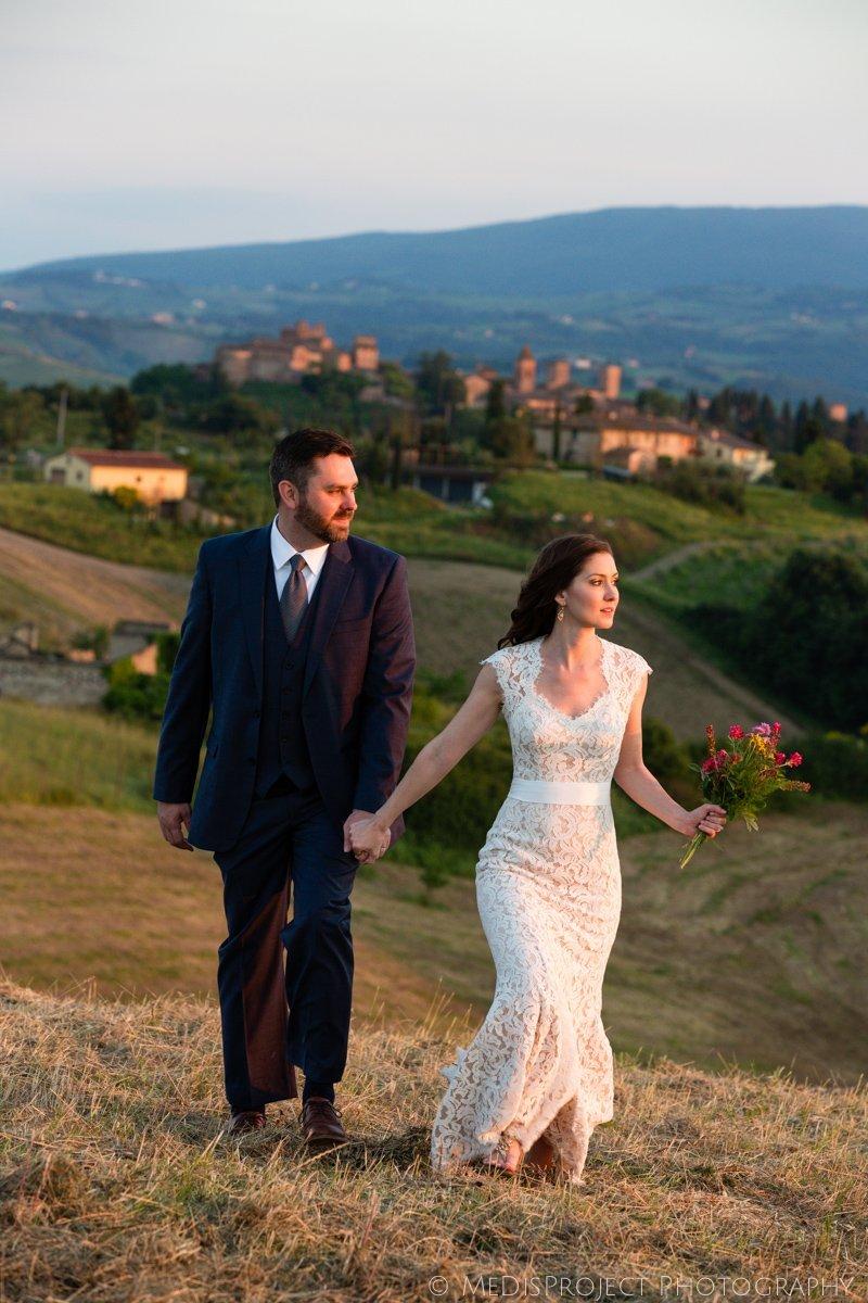 Romantic couple enjoying sunset in Certaldo