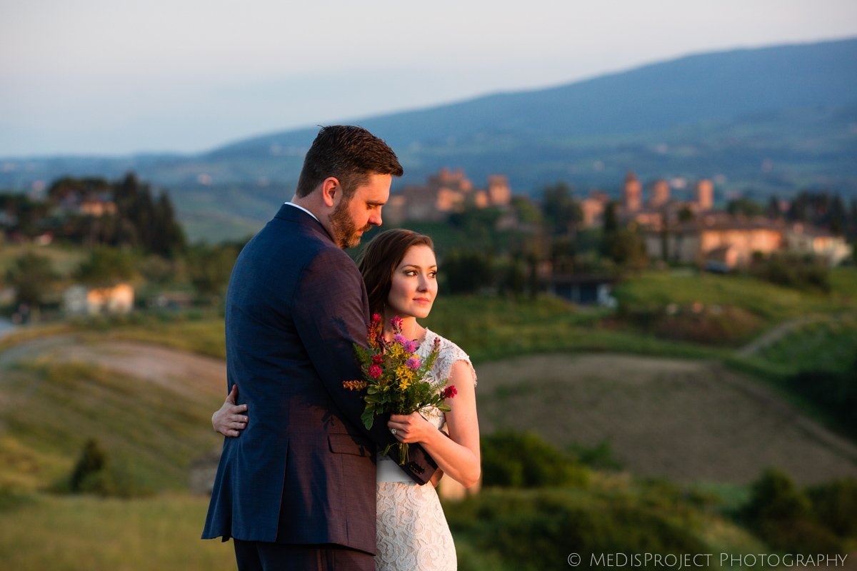 Bride and groom enjoying sunset in Certaldo