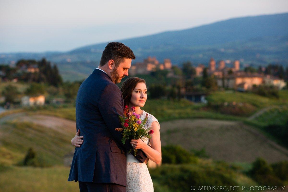 Bride and groom enjoying sunset in Certaldo