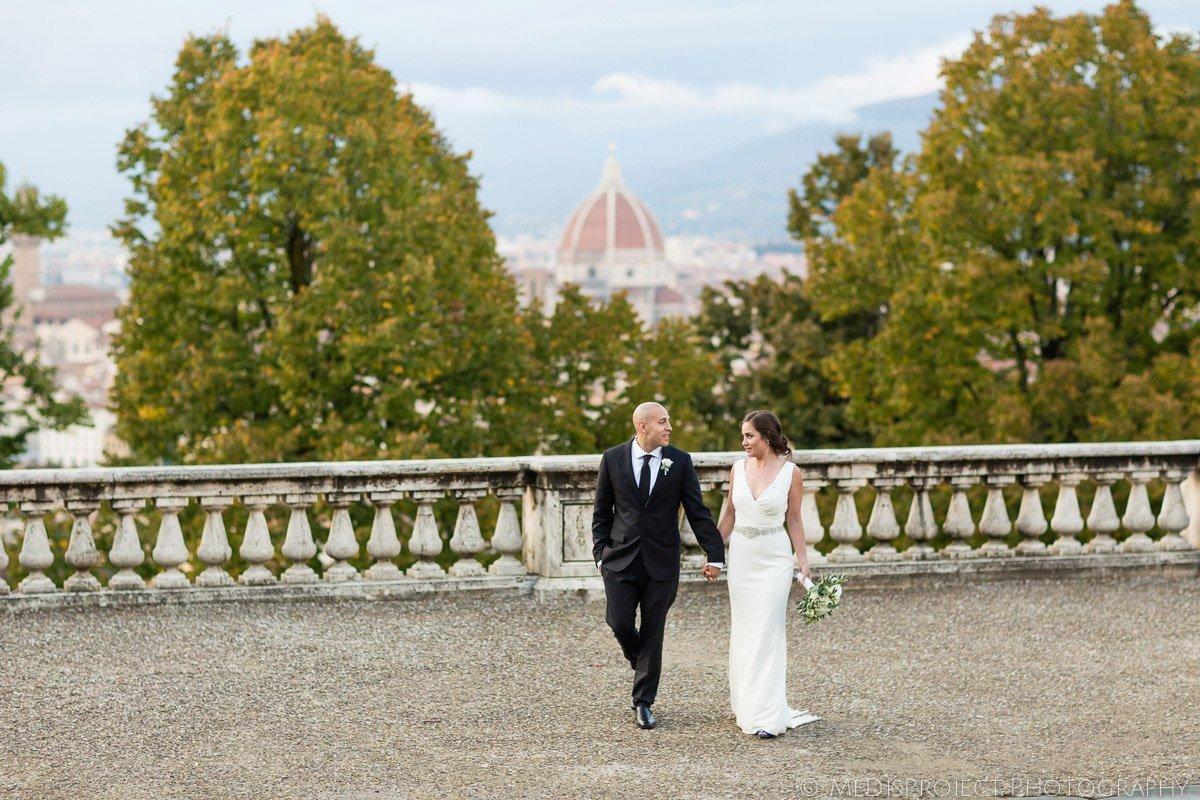 Bride and Groom walking in Florence