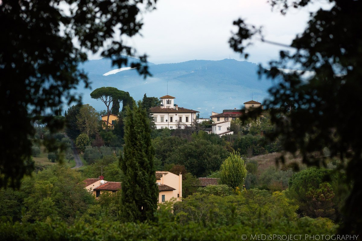 Tuscan villa on the hills panoramic view