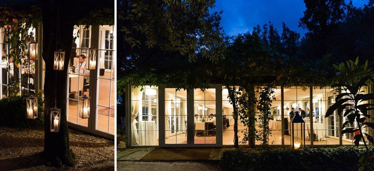 Wedding dinner set up in Villa le Piazzole's Orangerie