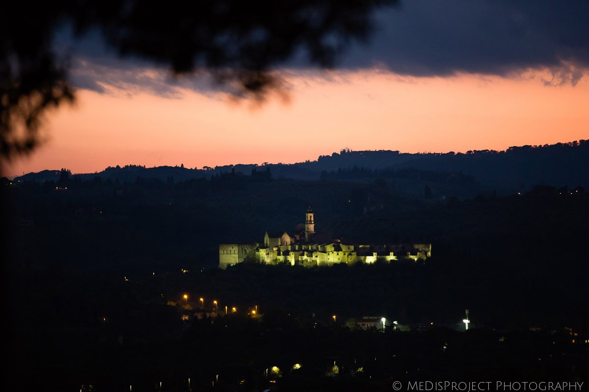 certosa of Florence at dusk from Villa Le Piazzole