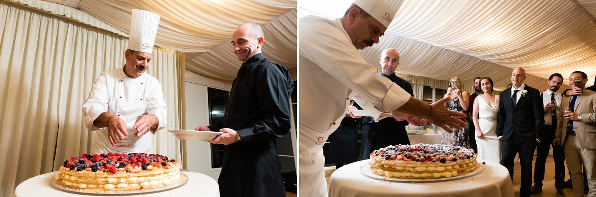 galateo ricevimenti live cake making at a wedding in Florence