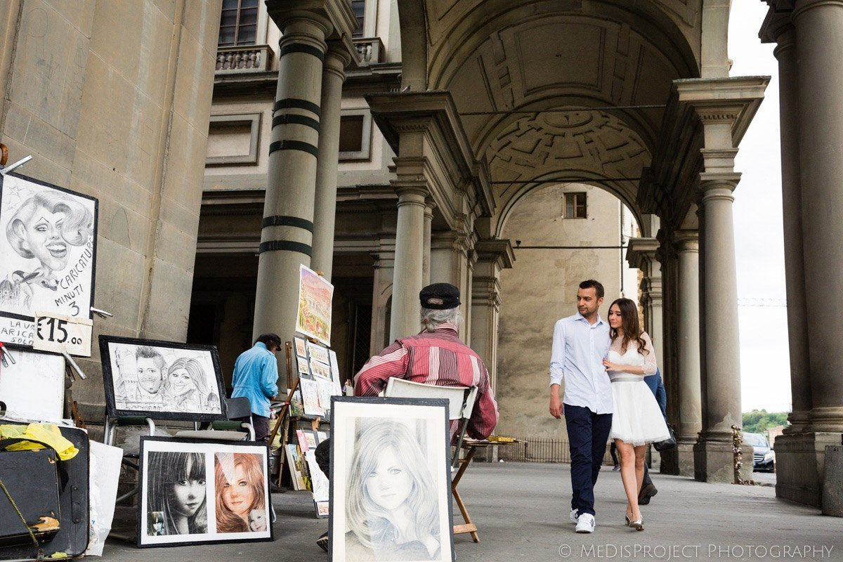 street artists in Florence city center
