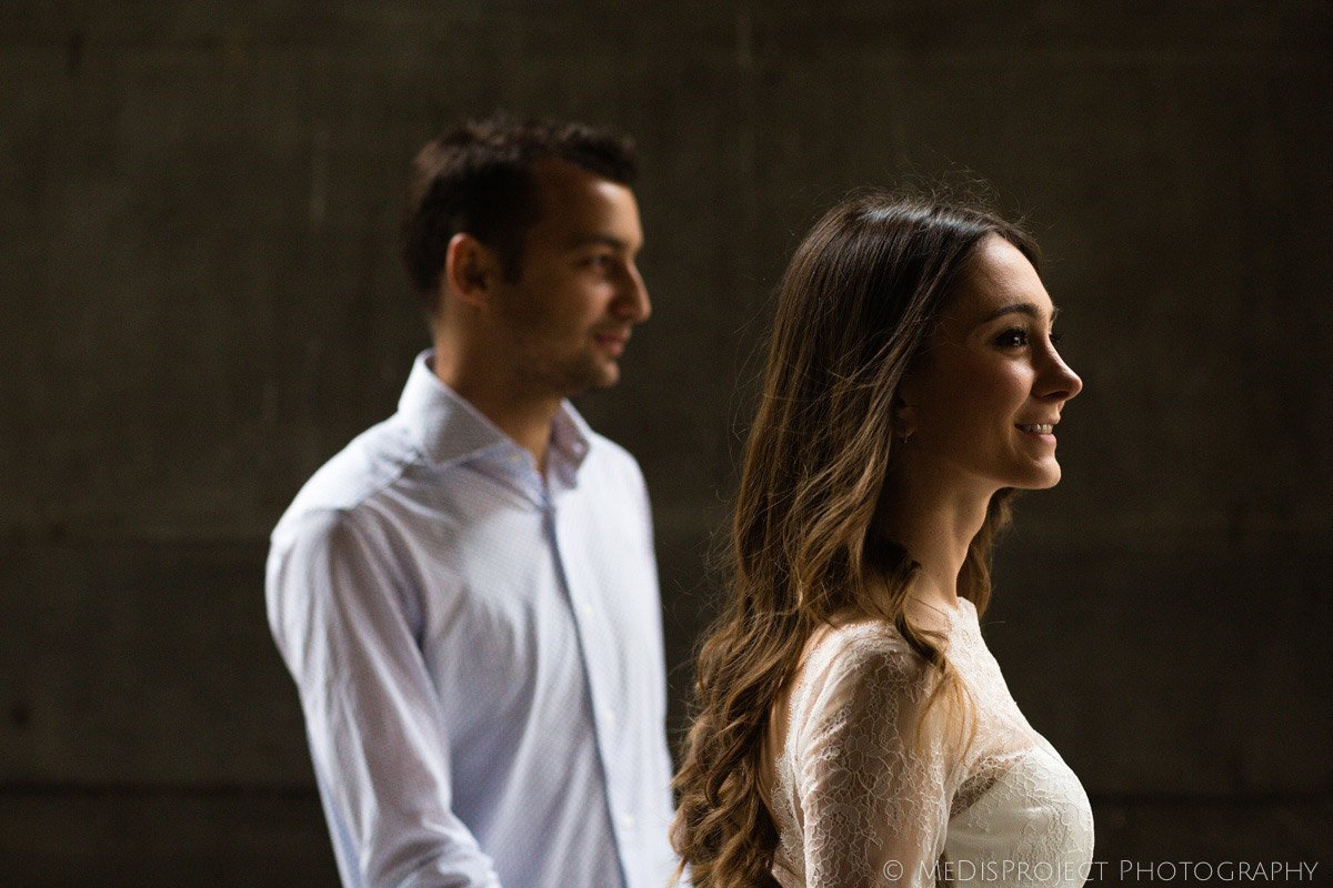 young husband and wife's profile portrait