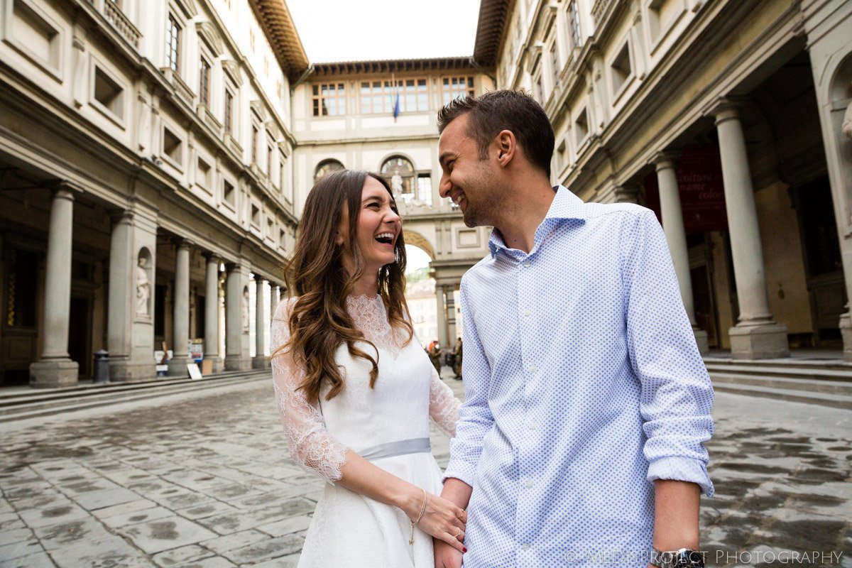 celebrating the first wedding anniversary in Florence