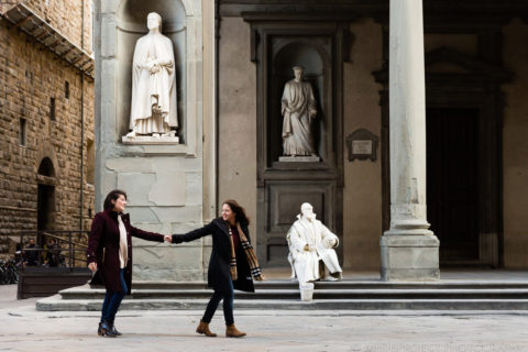 Walking hand by hand in Uffizi Gallery